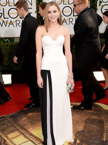 "<p>We hardly recognise Laura Carmicheal - aka Downton Abbey's Lady Edith - in this strapless, monochrome number. Doing it for the Brits!</p> <p><a href=""http://www.cosmopolitan.co.uk/beauty-hair/news/trends/celebrity-beauty/best-golden-globes-hair-makeup-beauty"" target=""_blank"">BEST GOLDEN GLOBES BEAUTY EVER</a></p> <p><a href=""http://www.cosmopolitan.co.uk/fashion/celebrity/best-golden-globes-dresses-ever"" target=""_blank"">REMEMBER THESE GOLDEN GLOBES DRESSES?</a></p> <p><a href=""http://www.cosmopolitan.co.uk/fashion/celebrity/best-dressed-celebrities-10-january"" target=""_blank"">THIS WEEK'S BEST DRESSED CELEBRITIES</a></p>"