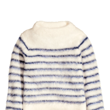<p>The classic Breton stripe jumper is brought bang up-to-date with this fun fluffy style.</p>