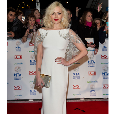 <p>Fearne Cotton looked like a decadent vintage GODDESS at the NTAs, in her exquisite white SS14 Notte by Marchesa gown, complete with little beaded cape and matching beaded clutch. GO FEARNE.</p>