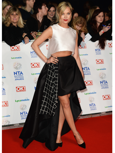 "<p>Now THIS is a fashion forward look from Laura Whitmore! Her LA Mania dress ticks looads of spring fashion trends - monochrome and midriffs being the main ones. With the striking stepped hem and grid-like lining, it's the fashion equivalent to TRON. Well played, Whitmore.</p> <p><a href=""http://www.cosmopolitan.co.uk/fashion/celebrity/sag-awards-2014-best-dressed"" target=""_blank"">SAG AWARDS 2014: BEST DRESSED CELEBRITIES</a></p> <p><a href=""http://www.cosmopolitan.co.uk/fashion/celebrity/jennifer-lawrence-red-carpet-dresses"" target=""_blank"">JENNIFER LAWRENCE'S RED CARPET LOOKS 2014</a></p> <p><a href=""http://www.cosmopolitan.co.uk/fashion/love/"" target=""_blank"">VOTE ON CELEBRITY STYLE</a></p>"