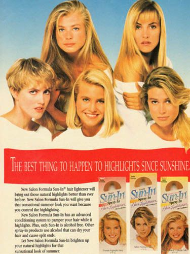 "<p>No '90s feature would be complete without an honorary mention of Sun-In, would it? The dreamy spray that magically made hair blonder when it was exposed to the sun. And the good news? Schwarzkopf are launching two brand new lightening sprays later in the year that promise to lighten by up to six or eight levels. Yay! Welcome back, natural looking blonde hair (definitely NOT yellow...)</p> <p><a href=""http://www.cosmopolitan.co.uk/beauty-hair/news/trends/90s-hairstyles-that-should-never-come-back"" target=""_blank"">90s HAIR THAT SHOULD NEVER COME BACK</a></p> <p><a href=""http://www.cosmopolitan.co.uk/celebs/entertainment/90s-tv-crushes-then-now"" target=""_blank"">90s CRUSHES - WHERE ARE THEY NOW?</a></p> <p><a href=""http://www.cosmopolitan.co.uk/fashion/news/cher-clueless-90s-fashion-dress?click=main_sr"" target=""_blank"">THINGS CHER FROM CLUELESS TAUGHT US ABOUT LAYERING</a></p>"
