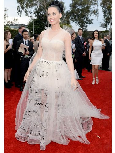 "<p>Katy Perry bloody loves a theme doesn't she? We're big fans of her musical Valentino frock. BIG. But what do you think?</p> <p><a href=""http://www.cosmopolitan.co.uk/celebs/entertainment/grammys-2014-watch-live-red-carpet-coverage"" target=""_blank"">WATCH THE 2014 GRAMMYS RED CARPET **LIVE** HERE</a></p> <p><a href=""http://www.cosmopolitan.co.uk/celebs/entertainment/celebs-at-grammy-awards-2012-entertainment"" target=""_blank"">GRAMMYS 2012: ALL THE CELEBRITIES AND A LOT OF KATY PERRY'S HAIR</a></p> <p><a href=""http://www.cosmopolitan.co.uk/fashion/news/golden-globes-red-carpet-dresses?click=main_sr"" target=""_blank"">ALL THE DRESSES AT THE 2014 GOLDEN GLOBES</a></p> <p><a href=""http://www.cosmopolitan.co.uk/fashion/news/golden-globes-2014-fashion-trends?click=main_sr"" target=""_blank"">5 HOT FASHION TRENDS ON THE GOLDEN GLOBES RED CARPET 2014</a></p>"