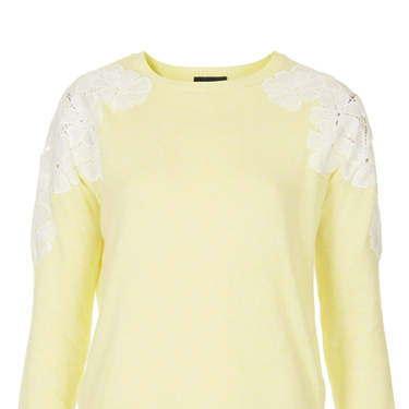 <p>This pretty knit comes in one of the surprise shades of the new season - and will look delightful with ripped blue jeans. SO FRESH.</p>