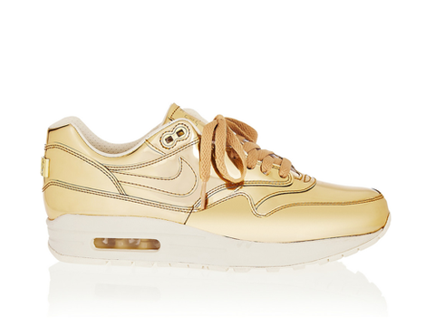 """<p>These trainers are THE SHIZZLE. Swish gold leather, anyone? Wear with white for a proper 'pop'.</p> <p>Nike Air Max Liquid Gold, £125, <a href=""""http://www.net-a-porter.com/product/391352"""" target=""""_blank"""">net-a-porter.com</a></p> <p><a href=""""http://cosmopolitan.co.uk/fashion/news/cara-delevingne-chanel-paris-wedding-dress?click=main_sr"""">Cara Delevingne wears Chanel wedding dress - and trainers! - at PFW</a></p> <p><a href=""""http://www.cosmopolitan.co.uk/celebs/entertainment/the-cara-delevingne-faces-book"""" target=""""_blank"""">The many funny faces of Cara Delevingne</a></p> <p><a href=""""http://www.cosmopolitan.co.uk/fashion/shopping/dress-spring-fashion-trends-2014"""" target=""""_blank"""">12 dresses that SCREAM spring</a></p>"""