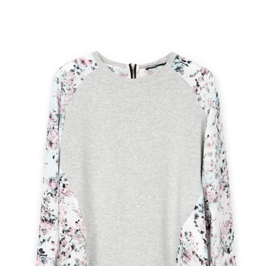 <p>YES. With its flash floral mesh insert, this souped-up grey marl sweater is THE ONE. Wear with ripped jeans for an instant update.</p>