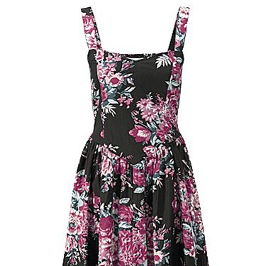 <p>Vintage 50s-inspired shapes usually flatter a curvier figure, and this floral print frock is based on an original design. With wide bra-friendly straps and its fit 'n' flare style, just pair with a cute cardi and opaques for a cute, girly look. Or save this dress for some summer lovin'...</p>