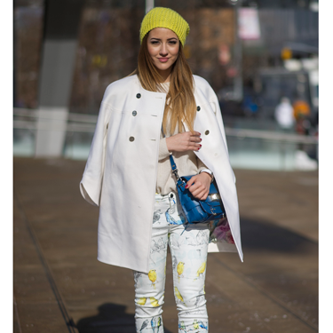 """<p>Wrap up warm while still looking spring-like with fresh floral skinnies, a white coat (brave - somelone clearly doesn't have to do battle with TFL on the daily) and accents of zingy yellow. We love this. HARD.</p><p><a href=""""http://www.cosmopolitan.co.uk/fashion/news/victoria-beckham-nyfw-show-2014"""" target=""""_blank"""">VICTORIA BECKHAM'S AW14 SHOW - CATWALK PICS</a></p><p><a href=""""http://www.cosmopolitan.co.uk/fashion/Fashion-week/fashion-week-daily-live-streams"""" target=""""_blank"""">WATCH NEW YORK FASHION WEEK LIVE (FROM YOUR SOFA)</a></p><p><a href=""""http://www.cosmopolitan.co.uk/fashion/news/celebs-new-york-fashion-week-aw14"""" target=""""_blank"""">SEE WHAT THE CELEBS ARE WEARING ON THE NYFW FROW</a></p><div style=""""overflow: hidden&#x3B; color: #000000&#x3B; background-color: #ffffff&#x3B; text-align: left&#x3B; text-decoration: none&#x3B;""""> </div>"""