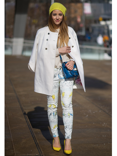 "<p>Wrap up warm while still looking spring-like with fresh floral skinnies, a white coat (brave - somelone clearly doesn't have to do battle with TFL on the daily) and accents of zingy yellow. We love this. HARD.</p> <p><a href=""http://www.cosmopolitan.co.uk/fashion/news/victoria-beckham-nyfw-show-2014"" target=""_blank"">VICTORIA BECKHAM'S AW14 SHOW - CATWALK PICS</a></p> <p><a href=""http://www.cosmopolitan.co.uk/fashion/Fashion-week/fashion-week-daily-live-streams"" target=""_blank"">WATCH NEW YORK FASHION WEEK LIVE (FROM YOUR SOFA)</a></p> <p><a href=""http://www.cosmopolitan.co.uk/fashion/news/celebs-new-york-fashion-week-aw14"" target=""_blank"">SEE WHAT THE CELEBS ARE WEARING ON THE NYFW FROW</a></p> <div style=""overflow: hidden; color: #000000; background-color: #ffffff; text-align: left; text-decoration: none;""> </div>"