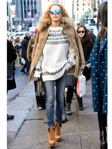 "<p>This stylish show-goer has a swagger in her step and that's because she KNOWS she's owning that sidewalk. A very stylish take on ski-wear sees a Fair Isle knit, heavyweight parka (shoulder-robed, natch), visor-like shades and chunky heeled Timberlands make for one very cute 'n' cosy look.</p> <p><a href=""http://www.cosmopolitan.co.uk/fashion/news/victoria-beckham-nyfw-show-2014"" target=""_blank"">VICTORIA BECKHAM'S AW14 SHOW - CATWALK PICS</a></p> <p><a href=""http://www.cosmopolitan.co.uk/fashion/Fashion-week/fashion-week-daily-live-streams"" target=""_blank"">WATCH NEW YORK FASHION WEEK LIVE (FROM YOUR SOFA)</a></p> <p><a href=""http://www.cosmopolitan.co.uk/fashion/news/celebs-new-york-fashion-week-aw14"" target=""_blank"">SEE WHAT THE CELEBS ARE WEARING ON THE NYFW FROW</a></p> <p> </p> <div style=""overflow: hidden; color: #000000; background-color: #ffffff; text-align: left; text-decoration: none;""> </div>"