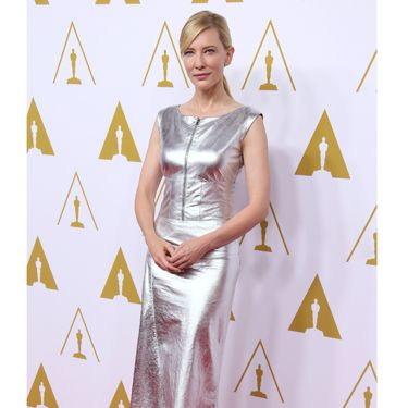 """<p>Cate Blanchett, up for best leading actress, looked super stylish in a silver leather dress.</p><p><a href=""""http://www.cosmopolitan.co.uk/fashion/news/celebs-new-york-fashion-week-aw14"""" target=""""_blank"""">CELEBRITY STYLE AT NEW YORK FASHION WEEK</a></p><p><a href=""""http://cosmopolitan.co.uk/fashion/celebrity/lupita-nyongo-who-is-she?click=main_sr"""" target=""""_blank"""">10 THINGS YOU SHOULD KNOW ABOUT LUPITA NYONG'O</a></p><p><a href=""""http://cosmopolitan.co.uk/fashion/shopping/date-dresses-curvy-girls?click=main_sr"""" target=""""_blank"""">SHOP 8 GREAT DATE DRESSES FOR CURVY GIRLS</a></p>"""