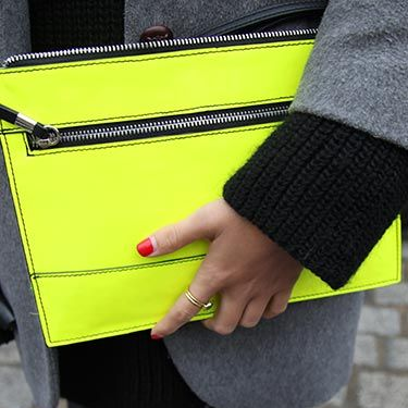 "<p class=""p1"">The perfect pairing - neon accessories with bright red nails. </p>