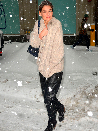 "<p>Katie Holmes smiled even though she was clearly thinking ""wtf is this?"" when she stepped out in a snow flurry in New York.</p> <p><a href=""http://www.cosmopolitan.co.uk/celebs/entertainment/jennifer-lawrence-figure-skater-sochi-2014"" target=""_blank"">WHAT IF JENNIFER LAWRENCE WAS AN OLYMPIC FIGURE SKATER?</a></p> <p><a href=""http://www.cosmopolitan.co.uk/fashion/love/tilda-swinton-sliders-Berlin-Grand-Budapest-Hotel"" target=""_blank"">HAVE YOUR SAY ON THIS WEEK'S CELEBRITY FASHION</a></p> <p><a href=""http://www.cosmopolitan.co.uk/beauty-hair/news/styles/celebrity/cosmo-hairstyle-of-the-day"" target=""_blank"">CHECK OUT COSMO'S CELEBRITY HAIRSTYLE OF THE DAY</a></p>"