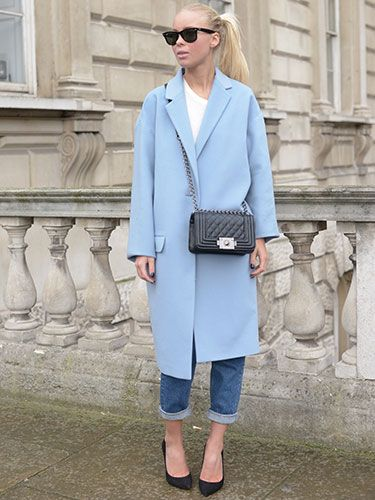 """<p>Pastel blue coats seem to be THE coat to wear this season, and the fashion week goers are certainly proving it. We love this slightly oversized longer version from Jigsaw, expertly styled with a simple white t-shirt, cropped boyfriend jeans from Topshop and the coveted Boy Bag by Chanel. Oh and Ray Ban wayfarers, of course.</p> <p><a href=""""http://www.cosmopolitan.co.uk/fashion/news/celebs-new-york-fashion-week-aw14"""" target=""""_blank"""">CELEBRITIES AT FASHION WEEK</a></p> <p><a href=""""http://www.cosmopolitan.co.uk/fashion/news/new-york-fashion-week-street-style-aw14"""" target=""""_blank"""">NEW YORK FASHION WEEK STREET STYLE</a></p> <p><a href=""""http://www.cosmopolitan.co.uk/fashion/news/celebs-new-york-fashion-week-aw14"""" target=""""_blank"""">NEW YORK FASHION WEEK FROW</a></p>"""