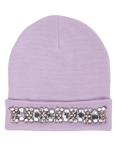 """<p>Switch up your dreary winter beanie for a pimped-up version in one of this season's sugary shades. Way to saty cosy while looking cute. </p> <p>Embelished beanie, £15, <a href=""""http://www.riverisland.com/women/accessories/hats/Lilac-embellished-beanie-hat-651501"""" target=""""_blank"""">riverisland.com</a></p> <p><a href=""""http://www.cosmopolitan.co.uk/fashion/shopping/spring-fashion-trends-2014?page=1"""" target=""""_blank"""">7 BIG FASHION TRENDS FOR SPRING 2014</a></p> <p><a href=""""http://www.cosmopolitan.co.uk/fashion/shopping/sexy-bras-big-breasts"""" target=""""_blank"""">5 SEXY BRAS FOR BIG BOOBS</a></p> <p><a href=""""http://www.cosmopolitan.co.uk/fashion/news/Topshop-Unique-autumn-winter-2014-London-Fashion-Week"""" target=""""_blank"""">TOPSHOP UNIQUE'S BEST BITS FOR AW14</a></p>"""