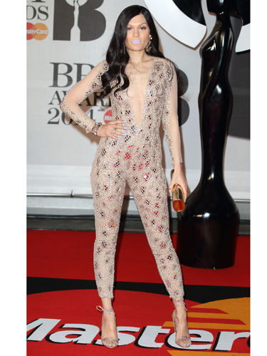 """<p>Oh, that Jessie J is SO shy and retiring. We really wish she'd wear something a bit more... y'know... STAND-OUT. Not this dull, beige Julien Macdonald sequin catsuit. Or those lilac lips. Meh.</p> <p><a href=""""http://www.cosmopolitan.co.uk/fashion/news/baftas-red-carpet-2014?click=main_sr"""" target=""""_blank"""">SEE CELEBS LOOKING FINE AT THE BAFTAS 2014</a></p> <p><a href=""""http://www.cosmopolitan.co.uk/fashion/news/celebs-new-york-fashion-week-aw14"""" target=""""_blank"""">CELEBRITY FRONT ROW FASHION AT LFW</a></p> <p><a href=""""http://www.cosmopolitan.co.uk/fashion/news/cosmopolitan.co.uk/fashion/news/golden-globes-red-carpet-dresses?click=main_sr"""" target=""""_blank"""">RED CARPET AT THE GOLDEN GLOBES 2014</a></p>"""