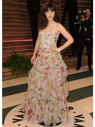 "<p>Ruffles and florals. Sounds like your nan's curtains, but IRL, Zooey Deschanel makes her 'out there' Oscar de la Renta dress totally work, and we salute her style.</p> <p><strong>MORE OSCARS STUFF YOU NEED IN YOUR LIFE:</strong></p> <p><a href=""http://www.cosmopolitan.co.uk/fashion/news/oscars-2014-red-carpet-dresses"" target=""_blank"">OSCARS 2014: RED CARPET ARRIVALS<strong></strong></a></p> <p><a href=""http://www.cosmopolitan.co.uk/fashion/news/oscars-2014-best-dressed"" target=""_blank"">THE 5 BEST DRESSES AT THE OSCARS 2014</a></p> <p><a href=""http://www.cosmopolitan.co.uk/celebs/entertainment/oscars-2014-winners"" target=""_blank"">OSCARS 2014: THE FULL LIST OF WINNERS</a></p> <p><a href=""http://www.cosmopolitan.co.uk/fashion/news/every-best-actress-dress-infographic"" target=""_blank"">EVERY BEST ACTRESS WINNER'S OSCARS DRESS SINCE 1929</a></p> <p> </p> <div style=""overflow: hidden; color: #000000; background-color: #ffffff; text-align: left; text-decoration: none;""> </div>"