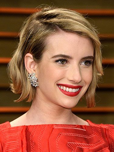 """<p>Emma's new bob looked incredible, jujjed-up with texture and a deep side-parting. Her classic red lippy, matching her posh frock, brought some classic glamour to her guise.</p> <p><strong>MORE OSCARS BEAUTY YOU NEED IN YOUR LIFE:</strong></p> <p><a href=""""http://www.cosmopolitan.co.uk/beauty-hair/news/trends/celebrity-beauty/oscars-2014-best-celebrity-beauty"""" target=""""_self"""">10 AMAZING OSCARS 2014 HAIRSTYLES</a></p> <p><a href=""""http://www.cosmopolitan.co.uk/beauty-hair/news/beauty-news/margot-robbie-brown-brunette-hair"""" target=""""_self"""">MARGOT ROBBIE GOES BRUNETTE FOR THE OSCARS</a></p> <p><a href=""""http://www.cosmopolitan.co.uk/beauty-hair/news/styles/celebrity/lupita-nyong-o-oscars-2014-hairstyles"""" target=""""_self"""">A CLOSE-UP LOOK AT LUPITA NYONG'O'S OSCARS HAIR</a></p>"""