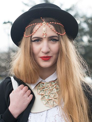 """<p>Fashion Blogger Elisa Baudoin dresses her tresses with an Indian-inspired tikka headpiece from ASOS. The exaggerated eyeliner and bold red lippy offset it a treat.</p> <p><a href=""""http://www.cosmopolitan.co.uk/beauty-hair/news/trends/hair-makeup-trends-autumn-winter-2014"""" target=""""_self"""">BIG BEAUTY TRENDS FROM PARIS FASHION WEEK</a></p> <p><a href=""""http://www.cosmopolitan.co.uk/beauty-hair/news/trends/celebrity-frow-hair-fashion-week"""" target=""""_self"""">FRONT ROW HAIRSTYLES - FASHION WEEK AW14</a></p> <p><a href=""""http://www.cosmopolitan.co.uk/beauty-hair/news/trends/celebrity-beauty/celebrity-nail-art-manicures"""" target=""""_self"""">CELEBRITY NAIL ART MANICURE PICTURES</a></p>"""