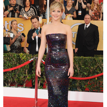 <p>ZOMG JLaw looked AMAZING at the SAG Awards! She shone like a total star in a shimmering sequinned Christian Dior column dress - and can we take a moment to admire those magnificent Jennifer Meyer earrings? Classically glamorous glitz at its finest.</p>