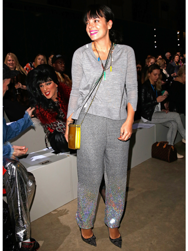 "<p>OK, the sports luxe trend just got REAL. Lily Allen's sequin sweats (by Ashish, to wear to his show) are SPEAKING TO US. The sparkly stilettos and assorted Chanel pouches in neon are the finishing touches for this laid-back look.</p> <p><a href=""http://www.cosmopolitan.co.uk/fashion/news/london-fashion-week-street-style-aw14"" target=""_blank"">LONDON FASHION WEEK STREET STYLE</a></p> <p><a href=""http://www.cosmopolitan.co.uk/fashion/news/Topshop-Unique-autumn-winter-2014-London-Fashion-Week"" target=""_blank"">TOPSHOP UNIQUE'S BEST BITS FOR AW14</a></p> <p><a href=""http://www.cosmopolitan.co.uk/fashion/news/new-york-fashion-week-street-style-aw14"" target=""_blank"">NEW YORK FASHION WEEK STREET STYLE</a></p> <p> </p>"