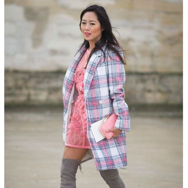 <p>This is everything we want in an outfit and more. The muted checks! The sheer lace dress! The dove grey over-knee boots! Whatta look! WHATTA GAL.</p>