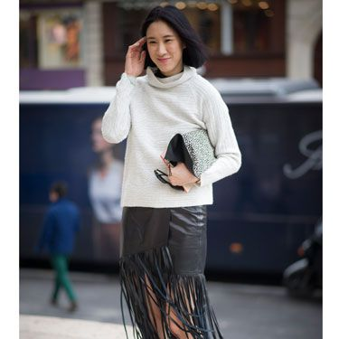 <p>Simple and chic. Take one statement fringed leather skirt, tone down with a neutral roll neck sweat and funk up with leopard print skjater sneaks. HELLZ YEAH!</p>
