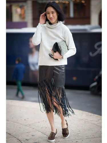 "<p>Simple and chic. Take one statement fringed leather skirt, tone down with a neutral roll neck sweat and funk up with leopard print skjater sneaks. HELLZ YEAH!</p> <p><a href=""http://www.cosmopolitan.co.uk/fashion/news/celebs-new-york-fashion-week-aw14"" target=""_blank"">NOW SEE WHAT THE CELEBS ARE WEARING ON THE FROW</a></p> <p><a href=""http://www.cosmopolitan.co.uk/fashion/news/new-york-fashion-week-street-style-aw14"" target=""_blank"">STREET STYLE FROM NEW YORK FASHION WEEK</a></p> <p><a href=""http://www.cosmopolitan.co.uk/fashion/news/london-fashion-week-street-style-aw14"" target=""_blank"">LONDON FASHION WEEK STREET STYLE</a></p> <div style=""overflow: hidden; color: #000000; background-color: #ffffff; text-align: left; text-decoration: none;""> </div>"