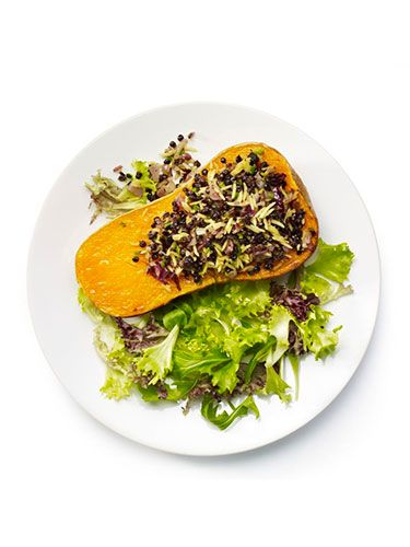 """<p><strong>Aromatic stuffed butternut squash</strong></p> <p>1. De-seed half the butternut squash. Brush with oil and bake at 190°C for 20 minutes.<br />2. Finely chop a small red onion and sauté in a little oil until soft, adding one finely-chopped green chilli at the end.<br />3. Add half the packet of lentils, half the pack of coconut rice, seasoning and a little vegetable stock to moisten the mix.<br />4. Pile this into the squash, cover with foil and bake for 25 minutes or until the squash is tender.<br />5. Serve with salad leaves.</p> <p><em>Optional extra: Stir 1tsp ground coriander seed into the lentil and rice mix while cooking.</em></p> <p> </p> <p><a href=""""http://www.cosmopolitan.co.uk/diet-fitness/diets/healthy-eating-on-a-budget"""" target=""""_blank"""">EAT WELL FOR UNDER £15 SHOPPING LIST</a></p> <p><a href=""""http://www.cosmopolitan.co.uk/diet-fitness/diets/comfort-food-recipes-under-300-calories"""" target=""""_blank"""">COMFORT FOOD UNDER 300 CALORIES</a></p> <p><a href=""""http://www.cosmopolitan.co.uk/diet-fitness/diets/how-to-eat-healthy"""" target=""""_blank"""">7 STEPS TO A HEALTHIER LIFESTYLE</a></p>"""