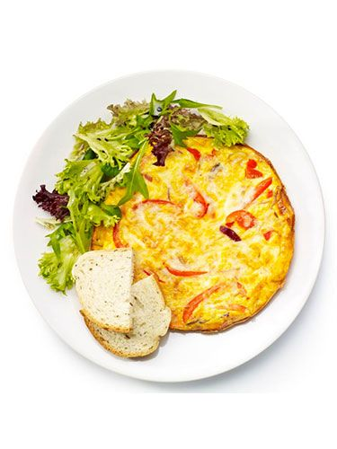"""<p><strong>Red pepper frittata</strong></p> <p>1. Thinly slice 1 red onion and 1 red pepper. Add to a small frying pan with 1tbsp oil and fry over a medium heat for 10 minutes, until they're soft. Add a little finely chopped red chilli to taste.<br />2. Beat 3 eggs with a glug of semi-skimmed milk and season.<br />3. Stir 50g grated cheese into the egg then pour into the pan. Cook until the underside is golden and the top is beginning to set.<br />4. Sprinkle some more cheese over the top then brown until a grill.<br />5. Serve the frittata with salad leaves dressed with oil and vinegar and a slice of bread.</p> <p><em>Optional extra: Add a thinly sliced courgette, or stir in a little smoked paprika.</em></p> <p> </p> <p><a href=""""http://www.cosmopolitan.co.uk/diet-fitness/diets/healthy-eating-on-a-budget"""" target=""""_blank"""">EAT WELL FOR UNDER £15 SHOPPING LIST</a></p> <p><a href=""""http://www.cosmopolitan.co.uk/diet-fitness/diets/comfort-food-recipes-under-300-calories"""" target=""""_blank"""">COMFORT FOOD UNDER 300 CALORIES</a></p> <p><a href=""""http://www.cosmopolitan.co.uk/diet-fitness/diets/how-to-eat-healthy"""" target=""""_blank"""">7 STEPS TO A HEALTHIER LIFESTYLE</a></p>"""