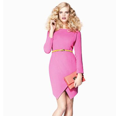 <p>The flattering cut of this frock makes it a definite hero piece for us, and teamed with colour-clashing accessories and an orange lip is a bold take that'll definitely make you stand out from the crowd.</p>