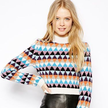 """<p>A surefire way to keep your jumper from looking too frumpy? Opt for a cropped, patterned style and pair with something unexpected - like a leather skirt.</p><p>ASOS Cropped High Neck Jumper in Pattern, £40, <a href=""""http://www.asos.com/ASOS/ASOS-Cropped-High-Neck-Jumper-in-Pattern/Prod/pgeproduct.aspx?iid=3516702&cid=15160&sh=0&pge=0&pgesize=36&sort=1&clr=Multi"""" target=""""_blank"""">asos.com</a></p><p><a href=""""http://www.cosmopolitan.co.uk/fashion/shopping/new-in-store-fashion-buys-march-2014"""" target=""""_blank"""">12 OPTIONS FOR YOUR SATURDAY NIGHT STYLE</a></p><p><a href=""""http://www.cosmopolitan.co.uk/fashion/shopping/very-spring-collection"""" target=""""_blank"""">10 HERO PIECES FOR SPRING</a></p><p><a href=""""http://www.cosmopolitan.co.uk/fashion/shopping/new-in-store/what-to-wear-this-week-03-03-14"""" target=""""_blank"""">WHAT TO BUY THIS WEEK</a></p>"""