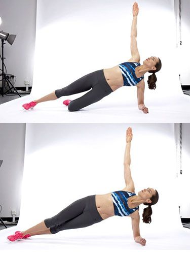 "<p>This is the best exercise for working on your waist muscles (obliques). You should feel this most underneath your lower ribs.</p> <p><strong>The move</strong> From your release position (the last move you completed in exercise 2), turn onto your left side, resting on your elbow, knees and hips. Keep your bottom leg bent and extend your top leg. Make sure your hips are in line and your elbow is beneath your shoulder.</p> <p>Breathe out, connect to your inner core and lift your hips off the floor. Raise your top arm. Hold and take 3 to 6 breaths.</p> <p>Once this becomes easy, extend your bottom leg.</p> <p><a href=""http://www.cosmopolitan.co.uk/diet-fitness/fitness/the-benefits-of-pilates"" target=""_blank"">WHY WE LOVE PILATES</a></p> <p><a href=""http://www.cosmopolitan.co.uk/diet-fitness/fitness/how-to-improve-your-pilates-workouts"" target=""_blank"">TIPS TO IMPROVE YOUR PILATES</a></p> <p><a href=""http://www.cosmopolitan.co.uk/diet-fitness/fitness/high-intensity-workout-with-Jessie-J"" target=""_blank"">WORK OUT WITH JESSIE J </a></p> <p> </p>"