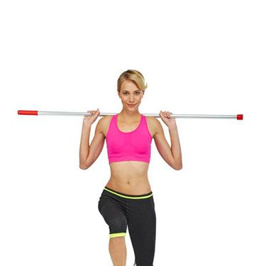 """<p>Stand tall with your feet hip-width apart, broom handle across your shoulders and tummy pulled in.<br /><br />Lunge forwards with your right leg as low as you can, making sure you keep your heel down.<br /><br />Push through your front heel to the start position, repeat on your left leg. Take a side lunge out to your right side. Return and repeat to the left. This is one rep.<br /><br />Repeat eight times.</p><p><a href=""""http://www.cosmopolitan.co.uk/diet-fitness/fitness/the-fat-burning-workout"""" target=""""_blank"""">THE FAT-BURNING WORKOUT</a></p><p><a href=""""http://www.cosmopolitan.co.uk/diet-fitness/fitness/miranda-kerr-on-getting-bikini-ready"""" target=""""_blank"""">MIRANDA KERR'S BIKINI BODY TIPS</a></p><p><a href=""""http://www.cosmopolitan.co.uk/diet-fitness/fitness/the-benefits-of-pilates"""" target=""""_blank"""">WHY WE LOVE PILATES</a></p><p> </p>"""