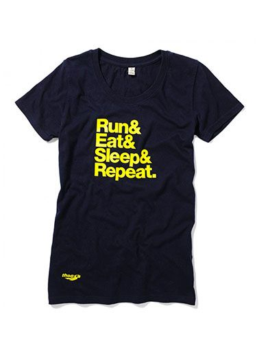 """<p>Eat. Sleep. Run. Repeat. </p> <p>And somewhere in between, find time to buy this rather cool T-shirt.</p> <p>Slogan tee, £25, <a href=""""http://www.thoosa.com/products/run-eat-sleep-repeat-navy"""" target=""""_blank"""">thoosa.com</a></p> <p><a href=""""http://www.cosmopolitan.co.uk/diet-fitness/fitness/beat-muscle-soreness-with-a-warm-up"""" target=""""_blank"""">THE RIGHT WAY TO WARM UP YOUR MUSCLES</a></p> <p><a href=""""http://www.cosmopolitan.co.uk/diet-fitness/fitness/20-minute-summer-workout"""" target=""""_blank"""">THE 20 MINUTE WORKOUT PERFECT FOR SUMMER</a></p> <p><a href=""""http://www.cosmopolitan.co.uk/diet-fitness/fitness/the-benefits-of-spinning"""" target=""""_blank"""">WHY SPINNING IS AN AMAZING WORKOUT</a></p>"""
