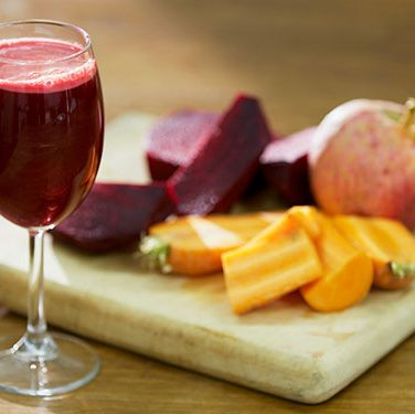 """<p><strong>BREAKFAST: Big red smoothie</strong><br />This drink is bursting with antioxidants and the milled seeds are a great way to get your essential fats - crucial for hydrating skin cells.</p><p>Blend 1/2 chopped carrot, 1/2 cooked beetroot, 25g seedless red grapes, 1/4 pink grapefruit, 1/2tbsp milled mixed seeds (eg flaxseed, sunflower and pumpkin seeds), 50ml 2% fat natural organic bio yoghurt and 1tsp runny honey until smooth, add water to thin.<br />Chill for 30 mins if poss.</p><p><strong>LUNCH: Spinach and avocado salad</strong><br />Avocados and spinach are rich in vitamin E, which fights free radical damage to your skin.</p><p>Make a salad of spinach, watercress and rocket, a small, chopped avocado, and 5 crumbled walnut halves with a dressing of 1dsp extra virgin olive oil, 2tsp balsamic vinegar and black pepper.</p><p><strong>AFTERNOON SNACK: Handful of unsalted nuts and a red apple</strong><br />Nuts help regulate your blood sugar while red apples are higher in antioxidants than green ones.</p><p><strong>DINNER: Tabbouleh vegetables</strong><br />High in zinc and vitamin C to boost your immune system.</p><p>Lightly stir-fry a handful of broccoli florets, 1 thinly sliced carrot, 1 small head pak choi (sliced), crushed garlic and chopped fresh chilli to taste in 1tbsp sesame seed oil.<br />Serve with 2tbsp cooked quinoa stirred with chopped fresh parsley, mint, cucumber and lemon juice.</p><p><a title=""""HOW TO EAT HEALTHY WHEN YOU'RE SUPER BUSY"""" href=""""http://www.cosmopolitan.co.uk/diet-fitness/diets/how-to-eat-healthy-on-the-go"""" target=""""_blank"""">HOW TO EAT HEALTHY WHEN YOU'RE SUPER BUSY</a></p><p><a title=""""SUGAR ALTERNATIVES: AS HEALTHY AS THEY SEEM? """" href=""""http://www.cosmopolitan.co.uk/diet-fitness/diets/giving-up-sugar-alternatives"""" target=""""_blank"""">SUGAR ALTERNATIVES: AS HEALTHY AS THEY SEEM?</a></p><p><a title=""""DIET MYTHS YOU NEED TO STOP BELIEVING"""" href=""""http://www.cosmopolitan.co.uk/diet-fitness/diets/top-5-diet-myths-busted"""" target=""""_blank"""">DIET M"""