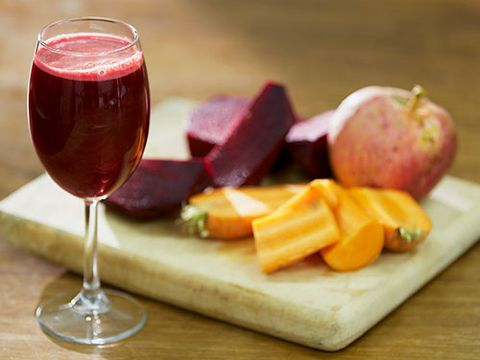 "<p><strong>BREAKFAST: Big red smoothie</strong><br />This drink is bursting with antioxidants and the milled seeds are a great way to get your essential fats - crucial for hydrating skin cells.</p> <p>Blend 1/2 chopped carrot, 1/2 cooked beetroot, 25g seedless red grapes, 1/4 pink grapefruit, 1/2tbsp milled mixed seeds (eg flaxseed, sunflower and pumpkin seeds), 50ml 2% fat natural organic bio yoghurt and 1tsp runny honey until smooth, add water to thin.<br />Chill for 30 mins if poss.</p> <p><strong>LUNCH: Spinach and avocado salad</strong><br />Avocados and spinach are rich in vitamin E, which fights free radical damage to your skin.</p> <p>Make a salad of spinach, watercress and rocket, a small, chopped avocado, and 5 crumbled walnut halves with a dressing of 1dsp extra virgin olive oil, 2tsp balsamic vinegar and black pepper.</p> <p><strong>AFTERNOON SNACK: Handful of unsalted nuts and a red apple</strong><br />Nuts help regulate your blood sugar while red apples are higher in antioxidants than green ones.</p> <p><strong>DINNER: Tabbouleh vegetables</strong><br />High in zinc and vitamin C to boost your immune system.</p> <p>Lightly stir-fry a handful of broccoli florets, 1 thinly sliced carrot, 1 small head pak choi (sliced), crushed garlic and chopped fresh chilli to taste in 1tbsp sesame seed oil.<br />Serve with 2tbsp cooked quinoa stirred with chopped fresh parsley, mint, cucumber and lemon juice.</p> <p><a title=""HOW TO EAT HEALTHY WHEN YOU'RE SUPER BUSY"" href=""http://www.cosmopolitan.co.uk/diet-fitness/diets/how-to-eat-healthy-on-the-go"" target=""_blank"">HOW TO EAT HEALTHY WHEN YOU'RE SUPER BUSY</a></p> <p><a title=""SUGAR ALTERNATIVES: AS HEALTHY AS THEY SEEM? "" href=""http://www.cosmopolitan.co.uk/diet-fitness/diets/giving-up-sugar-alternatives"" target=""_blank"">SUGAR ALTERNATIVES: AS HEALTHY AS THEY SEEM?</a></p> <p><a title=""DIET MYTHS YOU NEED TO STOP BELIEVING"" href=""http://www.cosmopolitan.co.uk/diet-fitness/diets/top-5-diet-myths-busted"" target=""_blank"">DIET MYTHS YOU NEED TO STOP BELIEVING</a></p>"