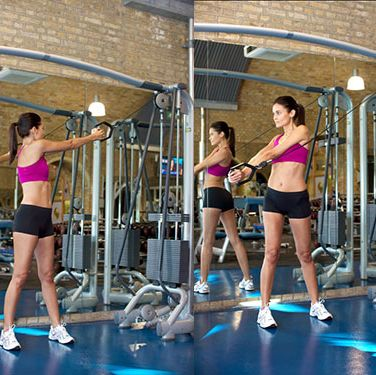 """<p>Stand side on to a cable machine with the handle set at the highest position. Grasp the handle with both hands and take a small step away from the machine so that the cable is loaded, your arms are straight, and your head and shoulders face the machine.</p><p>Keeping your arms straight and your body upright, rotate through your waist until your hands finish down by your hip.<br /><br />Slowly return to the start and repeat for 30 seconds. Swap sides.</p><p><a href=""""http://www.cosmopolitan.co.uk/diet-fitness/fitness/at-home-workout-that-girl-charli-cohen-christina-howells"""" target=""""_blank"""">THE BUSY WOMEN WORKOUT</a></p><p><a href=""""http://www.cosmopolitan.co.uk/diet-fitness/fitness/beat-muscle-soreness-with-a-warm-up"""" target=""""_blank"""">THE RIGHT WAY TO WARM-UP</a></p><p><a href=""""http://www.cosmopolitan.co.uk/diet-fitness/fitness/why-women-should-lift-weights"""" target=""""_blank"""">WHY WOMEN SHOULD LIFT WEIGHTS</a></p>"""