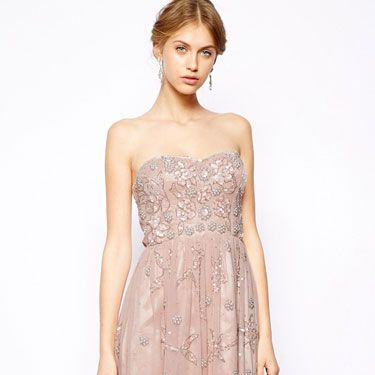 <p>There's nothing like a scattering of embellishment to make a frock sing, especially when offset with a peach-nude shade (stops it from looking OTT). This Frock and Frill number has an Art Deco feel, and you'll be reaching for it long after the wedding.</p>