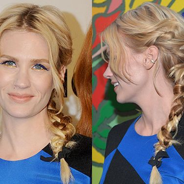 """<p>Multiple plaits paired with electric blue flicks and gold lower liner was a red carpet risk, but January Jones effortlessly pulled it off for the <a href=""""http://www.cosmopolitan.co.uk/beauty-hair/news/trends/celebrity-beauty/mad-men-season-7-premiere-beauty-hairstyles"""" target=""""_blank"""">Mad Men Season 7 premiere party</a>. We'd give our right arm for an hour with her stylists.</p><p><a href=""""http://www.cosmopolitan.co.uk/beauty-hair/news/trends/celebrity-beauty/lupita-nyong-for-lancome-pictures"""" target=""""_self"""">SEE LUPITA NYONG'O AS THE FACE OF LANCOME</a></p><p><a href=""""http://www.cosmopolitan.co.uk/beauty-hair/news/trends/celebrity-beauty/beyonce-makeup-artist-sir-john-tips"""" target=""""_blank"""">BEYONCE'S MAKEUP ARTIST SHARES HIS TIPS</a></p><p><a href=""""http://www.cosmopolitan.co.uk/beauty-hair/news/styles/celebrity/celebrity-bob-hairstyles"""" target=""""_blank"""">THE BEST CELEBRITY BOB HAIRSTYLES</a></p>"""