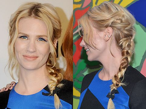 "<p>Multiple plaits paired with electric blue flicks and gold lower liner was a red carpet risk, but January Jones effortlessly pulled it off for the <a href=""http://www.cosmopolitan.co.uk/beauty-hair/news/trends/celebrity-beauty/mad-men-season-7-premiere-beauty-hairstyles"" target=""_blank"">Mad Men Season 7 premiere party</a>. We'd give our right arm for an hour with her stylists.</p> <p><a href=""http://www.cosmopolitan.co.uk/beauty-hair/news/trends/celebrity-beauty/lupita-nyong-for-lancome-pictures"" target=""_self"">SEE LUPITA NYONG'O AS THE FACE OF LANCOME</a></p> <p><a href=""http://www.cosmopolitan.co.uk/beauty-hair/news/trends/celebrity-beauty/beyonce-makeup-artist-sir-john-tips"" target=""_blank"">BEYONCE'S MAKEUP ARTIST SHARES HIS TIPS</a></p> <p><a href=""http://www.cosmopolitan.co.uk/beauty-hair/news/styles/celebrity/celebrity-bob-hairstyles"" target=""_blank"">THE BEST CELEBRITY BOB HAIRSTYLES</a></p>"