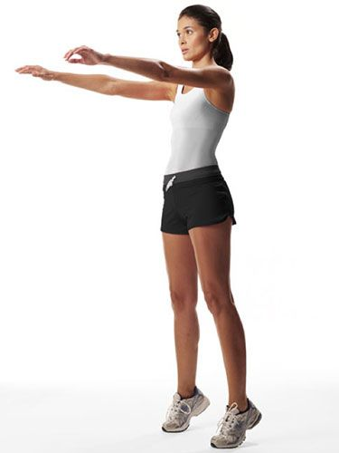 "<p>Increases strength and builds lean muscles from your calves to your glutes.</p> <p>Stand with your feet shoulder-width apart and hold both arms straight out in front of you.</p> <p>Squat down, squeezing your buttocks as you do so and using your arms to help you balance. Then, as you bring yourself back up, lift up onto your toes and put your arms out in front of you again.</p> <p>Hold this position for a couple of seconds, then lower into the next squat.</p> <p>Do three sets of 15 reps.</p> <p><a href=""http://www.cosmopolitan.co.uk/diet-fitness/fitness/miranda-kerr-on-getting-bikini-ready"" target=""_blank"">MIRANDA KERR'S BODY SECRETS</a></p> <p><a href=""http://www.cosmopolitan.co.uk/diet-fitness/fitness/20-minute-summer-workout"" target=""_blank"">THE 20 MINUTE SUMMER WORKOUT</a></p> <p><a href=""http://www.cosmopolitan.co.uk/diet-fitness/fitness/motivational-tips-for-long-distance-running"" target=""_blank"">GET MOTIVATED FOR LONG DISTANCE RUNNING</a></p>"