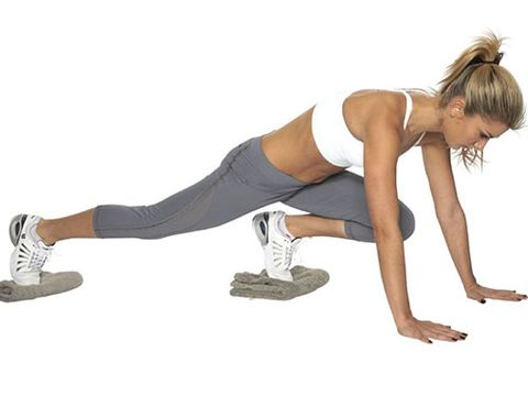 "<p><strong>Great for: A cardio burst. This multitasking move also strengthens your abdominals, chest, shoulders and legs.</strong></p> <p>This should be done on a slippery floor - vinyl works well.</p> <p>Start in the press-up position, with each foot resting on a small folded towelSlide your right knee up towards your chest, keeping your left leg extended and your back straight.</p> <p>Slide your right leg back and repeat on the other side. This is one rep.</p> <p>Moving as fast as you can, do 10-15 reps. Focus on keeping your hips steady and your abs pulled in.</p> <p><a href=""http://www.cosmopolitan.co.uk/diet-fitness/fitness/the-fat-burning-workout"" target=""_blank"">SUPERCHARGE YOUR WORKOUT</a></p> <p><a href=""http://www.cosmopolitan.co.uk/diet-fitness/fitness/exercise-your-whole-body-with-Pixie-Lott-workout"" target=""_blank"">TRAIN LIKE PIXIE LOTT</a></p> <p><a href=""http://www.cosmopolitan.co.uk/diet-fitness/fitness/flatten-your-stomach-with-pilates"" target=""_blank"">GET A FLAT TUM WITH PILATES</a></p>"