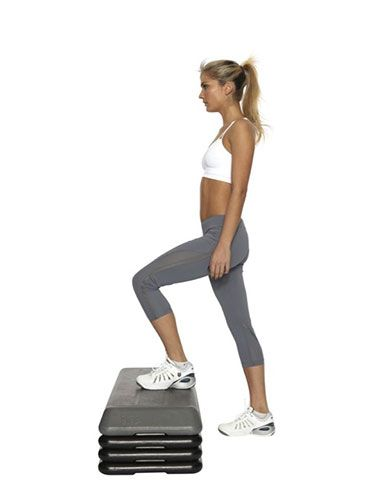 "<p><strong>Great for: Toning your legs while sending your heart rate soaring to burn calories.</strong></p> <p>Stand facing a bench or step. Step up with your left foot, followed by your right - this is one rep.</p> <p>Repeat the double step as fast as you can 30 times.</p> <p>For a harder workout, add a squat between each step.</p> <p><a href=""http://www.cosmopolitan.co.uk/diet-fitness/fitness/the-fat-burning-workout"" target=""_blank"">SUPERCHARGE YOUR WORKOUT</a></p> <p><a href=""http://www.cosmopolitan.co.uk/diet-fitness/fitness/exercise-your-whole-body-with-Pixie-Lott-workout"" target=""_blank"">TRAIN LIKE PIXIE LOTT</a></p> <p><a href=""http://www.cosmopolitan.co.uk/diet-fitness/fitness/flatten-your-stomach-with-pilates"" target=""_blank"">GET A FLAT TUM WITH PILATES</a></p>"