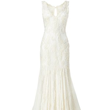 """<p>With its sweeping train and vintage vibe, this ethereal gown is not a million miles away from Mossy's own incredible wedding gown. Add a floral garland, tousled waves and army of mini bridesmaids and you've nailed the look.</p><p>Gardenia wedding dress, £750, <a href=""""http://www.phase-eight.co.uk/fcp/product/phase-eight//Gardenia-Wedding-Dress/202418106"""" target=""""_blank"""">phase-eight.co.uk</a></p><p><a href=""""http://www.cosmopolitan.co.uk/fashion/news/hm-launch-first-wedding-dress"""" target=""""_blank"""">H&M's £60 WEDDING DRESS</a></p><p><a href=""""http://www.cosmopolitan.co.uk/fashion/shopping/short-bridesmaids-dresses-wear-again-uk"""" target=""""_blank"""">10 WEAR-AGAIN BRIDESMAID DRESSES</a></p><p><a href=""""http://www.cosmopolitan.co.uk/fashion/shopping/wedding-dress-trends-2014?page=1"""" target=""""_blank"""">DREAMY BRIDAL FASHION WEEK GOWNS</a></p><p><a href=""""http://www.cosmopolitan.co.uk/blogs/cosmo-blog-awards-2013/rock-n-roll-bride-best-alternative-wedding-ideas-photos-tattoos-blog-awards?page=1"""" target=""""_blank"""">ROCK'N'ROLL BRIDE'S WEDDING PICKS</a></p>"""