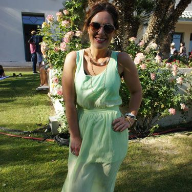 <p>Pistachio princess Lindsay Busa looked beautiful at the Soho House Pop-Up Party with Bacardi during Coachella. Her mint green Forever 21 dress looked adorable teamed with her Urban Outfitters heart-shaped sunglasses.</p>