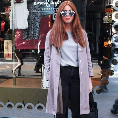 """<p>Grace, fashion buyer assistant.</p><p>Sample sale coat, Topshop jeans, Uniqlo T-shirt, Zara round sunglasses.</p><p><a href=""""http://www.cosmopolitan.co.uk/fashion/shopping/Coachella-festival-street-style-2014-pictures"""" target=""""_blank"""">SEE HOW THEY'RE WEARING IT AT COACHELLA 2014</a></p><p><a href=""""http://www.cosmopolitan.co.uk/fashion/shopping/10-spring-dresses-under-30-pounds-ss14"""" target=""""_blank"""">10 BEST SPRING DRESSES UNDER £30</a></p><p><a href=""""http://www.cosmopolitan.co.uk/fashion/shopping/5-pastel-trend-accessories-spring-summer-2014"""" target=""""_blank"""">PASTEL-PRETTY ACCESSORIES TO BUY NOW</a></p><p>Picture by Charlie Ashfield.</p>"""