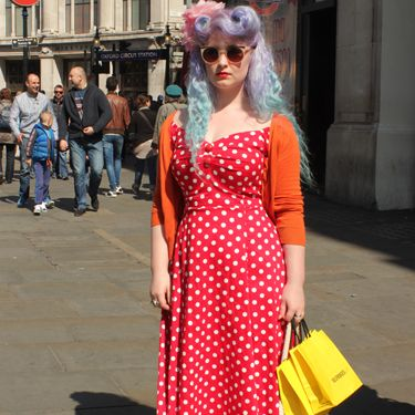 """<p>Harriet, student.</p><p>Collectif polka dot dress, Dr. Martens boots, Primark flower hair accessory.</p><p><a href=""""http://www.cosmopolitan.co.uk/fashion/shopping/Coachella-festival-street-style-2014-pictures"""" target=""""_blank"""">SEE HOW THEY'RE WEARING IT AT COACHELLA 2014</a></p><p><a href=""""http://www.cosmopolitan.co.uk/fashion/shopping/10-spring-dresses-under-30-pounds-ss14"""" target=""""_blank"""">10 BEST SPRING DRESSES UNDER £30</a></p><p><a href=""""http://www.cosmopolitan.co.uk/fashion/shopping/5-pastel-trend-accessories-spring-summer-2014"""" target=""""_blank"""">PASTEL-PRETTY ACCESSORIES TO BUY NOW</a></p><p>Picture by Charlie Ashfield.</p>"""
