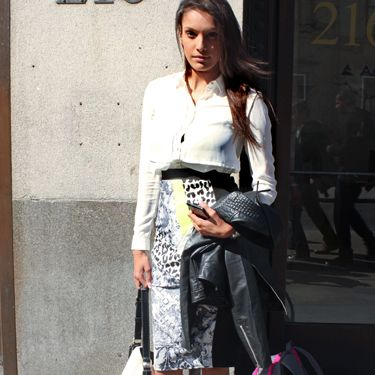 """<p>Natasha, business development manager.</p><p>River Island digital print pencil skirt, Armani white shirt, Calvin Klein handbag.</p><p><a href=""""http://www.cosmopolitan.co.uk/fashion/shopping/Coachella-festival-street-style-2014-pictures"""" target=""""_blank"""">SEE HOW THEY'RE WEARING IT AT COACHELLA 2014</a></p><p><a href=""""http://www.cosmopolitan.co.uk/fashion/shopping/10-spring-dresses-under-30-pounds-ss14"""" target=""""_blank"""">10 BEST SPRING DRESSES UNDER £30</a></p><p><a href=""""http://www.cosmopolitan.co.uk/fashion/shopping/5-pastel-trend-accessories-spring-summer-2014"""" target=""""_blank"""">PASTEL-PRETTY ACCESSORIES TO BUY NOW</a></p><p>Picture by Charlie Ashfield.</p>"""