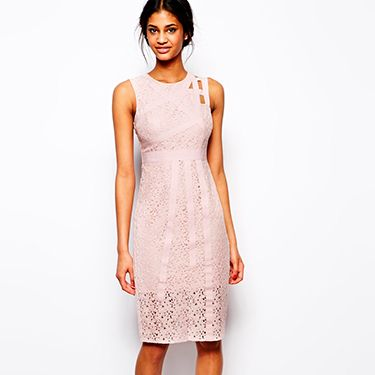 """<p>You can't go wrong with a shift dress at a wedding. This nude lace number from ASOS is great because of its midi length and strap detailing at the back which makes it a bit more playful.</p><p>Midi dress with strapping and lace, £65, <a href=""""http://www.asos.com/Asos/Asos-Midi-Dress-With-Strapping-And-Lace/Prod/pgeproduct.aspx?iid=3658827&cid=8799&sh=0&pge=0&pgesize=36&sort=-1&clr=Mint"""" target=""""_blank"""">ASOS</a></p><p><a href=""""http://www.cosmopolitan.co.uk/fashion/shopping/12-incredible-high-street-wedding-dresses-budget"""" target=""""_blank"""">12 INCREDIBLE WEDDING DRESSES FROM THE HIGH STREET</a></p><p><a href=""""http://www.cosmopolitan.co.uk/fashion/shopping/10-spring-dresses-under-30-pounds-ss14"""" target=""""_blank"""">10 SPRING DRESSES ON A BUDGET</a></p><p><a href=""""http://www.cosmopolitan.co.uk/fashion/shopping/Coachella-festival-street-style-2014-pictures"""" target=""""_blank"""">COACHELLA STREET STYLE EDIT</a></p>"""