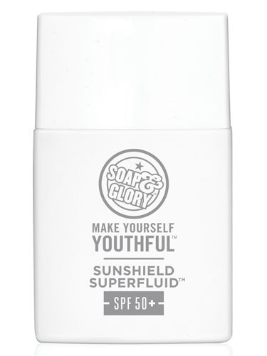 "<p><strong>THEY SAY: </strong>Introducing the new Make Yourself Youthful Sunshield Superfluid SPF50+ from Soap & Glory, which offers outstanding protection in a super-lightweight, translucent SPF 50+ UVA/UVB formula. With a practically imperceptible texture, it's our best-ever sun protection base for your face.<strong></strong></p> <p><strong>WE SAY: </strong>I'm a huge Soap & Glory fan so I'm super happy they've just launched this new SPF50 face fluid that has UVA and UVB protection. It beautifully mattifies my skin and is so easy to apply, the lotion is really lightweight and quite watery, but that's not a problem at all – it just means it doesn't take long to dry on the skin, so there's no sitting about for ages before you can apply your makeup. I also love that it doesn't apply white and leave you looking like a ghost…!</p> <p><strong>SCORE: 9/10</strong></p> <p><strong>Soap & Glory Make Yourself Youthful Sunshield Superfluid SPF50+, £15 <a href=""http://www.boots.com"" target=""_blank"">boots.com</a></strong></p> <p><strong><br /></strong></p>"